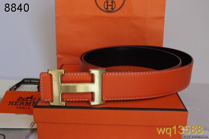Stylish Hermes Mens Belt with Golden H Buckle Orange Clearance S